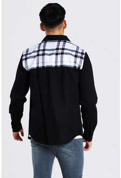 Black Long Sleeve Twill Overshirt With Check Back Panel