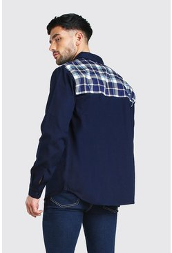 Navy Long Sleeve Twill Overshirt With Check Back Panel