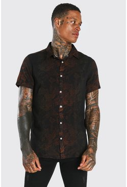 Black Short Sleeve Paisley Ombre Viscose Shirt