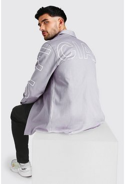 Grey MAN Official Arm And Back Print Twill Overshirt