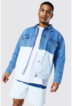 Mid blue Oversized Ombre Denim Jacket