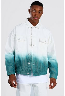 Ecru Oversized Ombre Denim Jacket