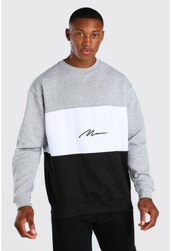 Black Colour Block Oversized Sweat