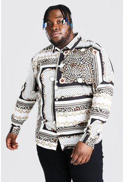 Ecru Plus Size Long Sleeve Animal Print Shirt