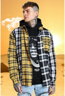 Multi Burna Boy Oversized Splice Check Shirt With Raw Hem