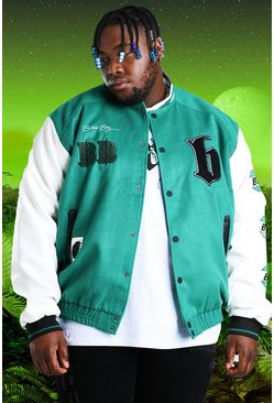 Green Plus Size Burna Boy Varsity Bomber Jacket
