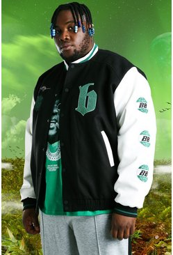 Black Plus Size Burna Boy Varsity Bomber Jacket