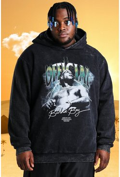 Plus - Sweat à capuche coupe oversize à imprimé Burna Boy officiel, Anthracite :