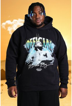 Black Plus Size Burna Boy Official Print Hoodie