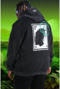 Charcoal Plus Size Burna Boy Stamp Print Hoodie