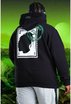 Black Plus Size Burna Boy Stamp Print Hoodie