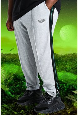 Grey marl Plus Size Burna Boy Slim Fit Joggers
