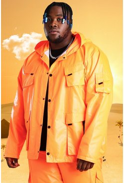 Plus - Veste de treillis à 4 poches Burna Boy, Orange