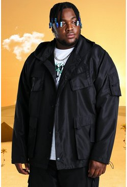 Black Plus Size Burna Boy 4 Pocket Field Jacket