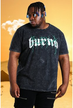 Charcoal Plus Size Burna Boy Tour Acid Wash T-Shirt