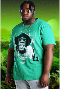 Green Plus Size Burna Boy Glasses Print T-Shirt