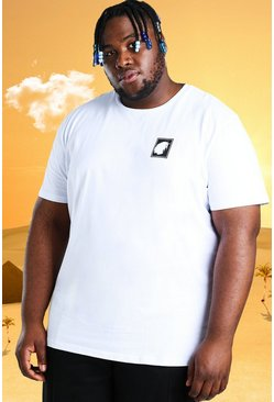White Plus Size Burna Boy Stamp Print T-Shirt