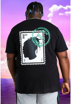 Black Plus Size Burna Boy Stamp Print T-Shirt