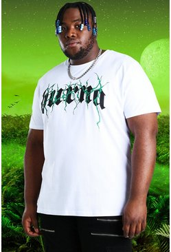 White Plus Size Burna Boy Tour Print T-Shirt