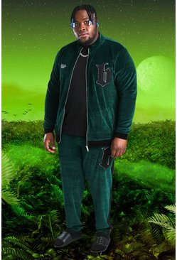 Green Plus Size Burna Boy Velour B Tracksuit