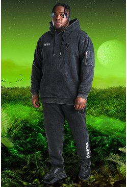 Charcoal Plus Size Burna Boy B Acid Wash Tracksuit