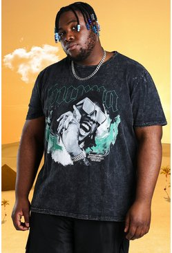Plus - T-shirt délavé à l'acide Burna Boy, Anthracite :