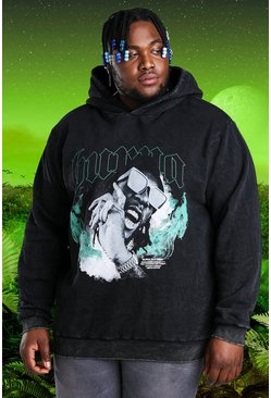 Charcoal Plus Size Burna Boy Acid Wash Hoodie