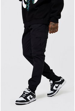 Black Regular Fit Cargo Pants