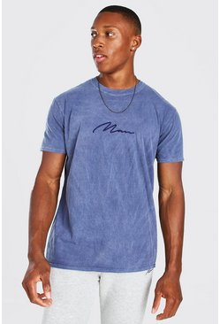 Navy MAN Signature Overdyed T-Shirt