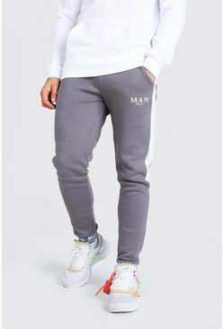 MAN Embroidered Cuff Side Panel Skinny Jogger, Charcoal