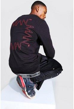 Black Original MAN Long Sleeve T-Shirt With Tape Hem
