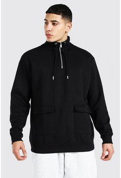 Black Oversized 1/2 Zip Funnel Neck Sweatshirt
