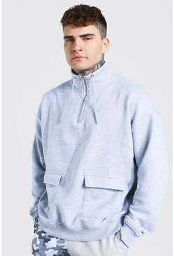 Grey marl Oversized Funnel Neck Track Top