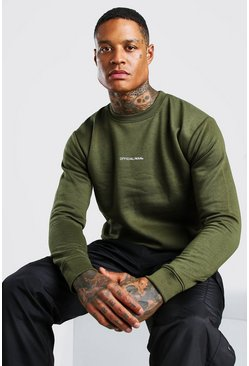 Official MAN Back Print Sweater, Khaki