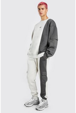 Grey Man Oversized Raw Seam Cargo Sweater Tracksuit