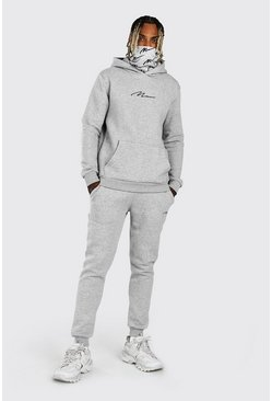 Grey marl MAN Signature Snood Print Hooded Tracksuit