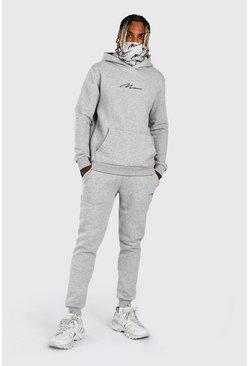 Grey marl MAN Signature Snood Print Hooded Tracksuit