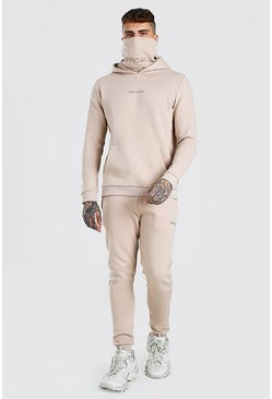 MAN Official Embroidered Snood Hooded Tracksuit, Beige