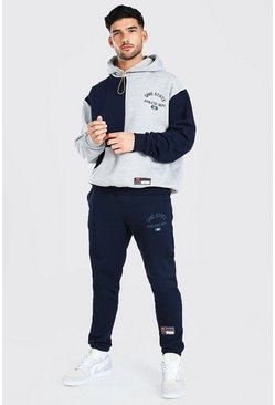 Oversized Ohio Spliced Sweater Tracksuit, Navy