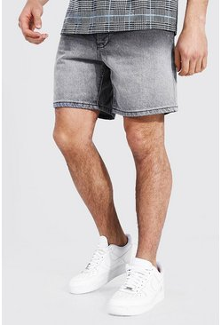Black Ombre Relaxed Fit Denim Short