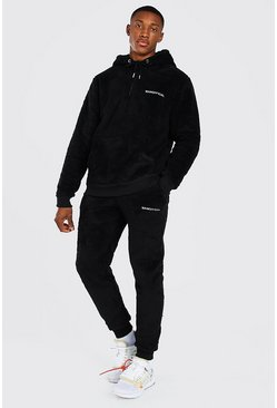 Black Official MAN Borg Half Zip Hoodie And Jogger