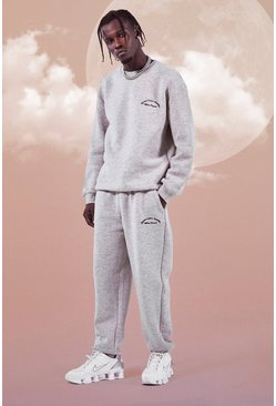 Grey marl Heavyweight Embroidered Sweater Tracksuit