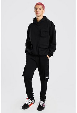 Loose Fit Cargo Hooded Tracksuit With Tab, Black