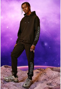 Official Print Cargo Hooded Tracksuit, Black