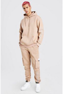 Official Print Cargo Hooded Tracksuit, Taupe