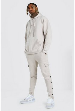 Oversized Official MAN Popper Detail Tracksuit, Stone