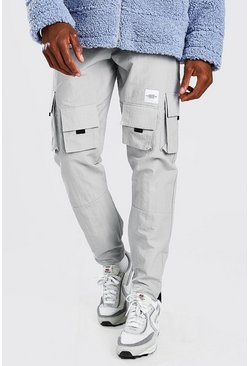 Crinkle Shell Multi Pocket MAN Cargo Trouser, Light grey