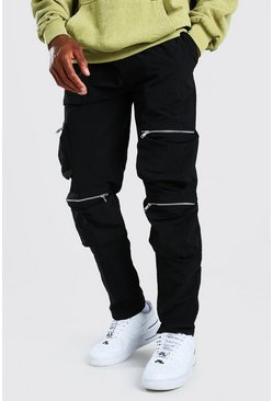 Black Crinkle Shell Multi Pocket Cargo Pants
