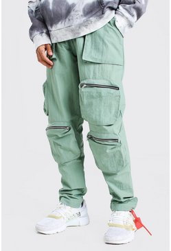 Crinkle Shell Multi Pocket Cargo Trouser, Sage