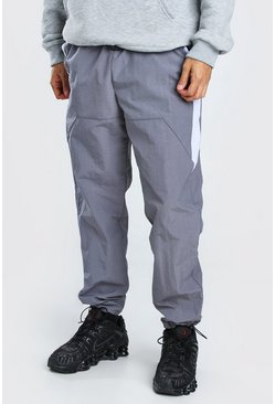 Crinkle Shell Colour Block Side Panel Trouser, Light grey